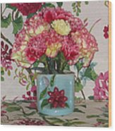Little Old Vase And Carnations Wood Print