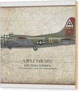 Little Patches B-17 Flying Fortress - Map Background Wood Print by Craig Tinder