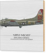 Little Patches B-17 Flying Fortress - White Background Wood Print