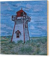 Little Red And White Lighthouse Wood Print