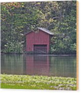 Little Red Boat House Wood Print