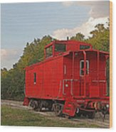 Little Red Caboose Wood Print