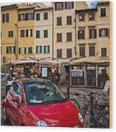 Little Red Fiat Wood Print