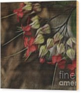 Little Red Flowers Wood Print