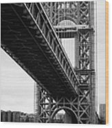 Little Red Lighthouse Beneath The George Washington Bridge Hudson River New York Nyc Wood Print