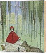 Little Red Riding Hood, Artwork Wood Print