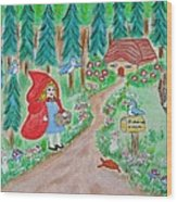 Little Red Riding Hood With Grandma's House On Mailbox Wood Print