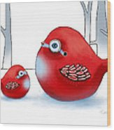 Little Red Robins Wood Print