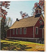 Little Red School House Wood Print