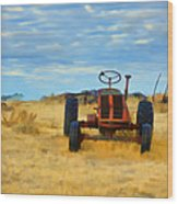 Little Red Tractor 4 Wood Print