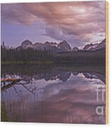 Little Redfish Lake Sunset Stanley Idaho Wood Print