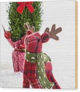 Little Reindeer Christmas Card Wood Print