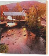 Little River Bridge At Sunset Gatlinburg Wood Print