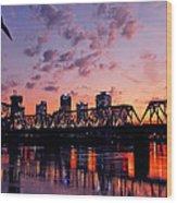 Little Rock Bridge Sunset Wood Print