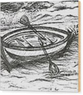 Little Rowing Boat Wood Print