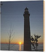Little Sable Lighthouse At Sunset Wood Print