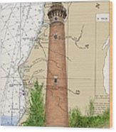 Little Sable Lighthouse Lake Mi Nautical Chart Map Art Cathy Peek Wood Print
