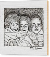 Little Sisters Wood Print by Rebecca Christine Cardenas
