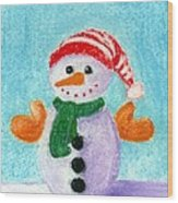 Little Snowman Wood Print