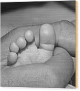Tiny Infant Toes In Father's Big Hand Wood Print