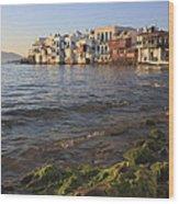 Little Venice At Sunset Mykonos Town Cyclades Greece  Wood Print