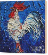 Little White Rooster Wood Print