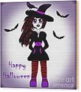 Little Witch Halloween Girl Wood Print