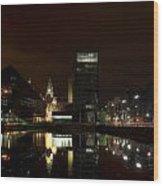 Liverpool Docks At Night Wood Print
