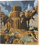 Living Fossils In A Desert Landscape Wood Print