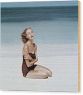 Liz Benn Sitting On A Beach Wood Print