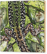 Lizard In Green Nature - Elena Yakubovich Wood Print