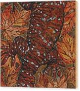 Lizard In Red Nature - Elena Yakubovich Wood Print by Elena Yakubovich