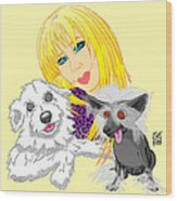 Lizzie And Dimey And Pinny Wood Print