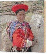Llama Lady Wood Print