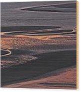 Llansteffan Sunset Glow Wood Print