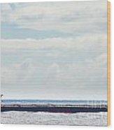 Loaded Oil Tanker On Ocean Under Stormy Sky Clouds Wood Print