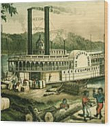 Loading Cotton On The Mississippi, 1870 Colour Litho Wood Print