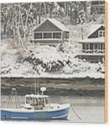 Lobster Boat After Snowstorm In Tenants Harbor Maine Wood Print by Keith Webber Jr