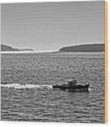 Lobster Boat And Islands Off Acadia National Park In Maine Wood Print