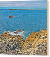 Lobster Boat Checking Traps In Louisbourg Bay-ns Wood Print