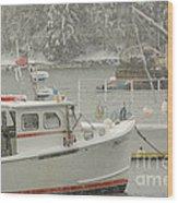 Snowy Lobster Boats Wood Print