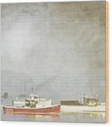 Lobster Boats At Anchor Bar Harbor Maine Wood Print by Carol Leigh
