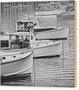 Lobster Boats In Bass Harbor And Bernard Maine  Wood Print
