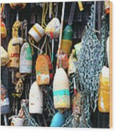 Lobster Buoys Fishermans Shed Wood Print