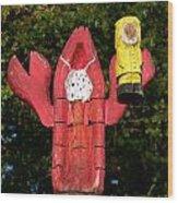 Lobster Catching Lobsterman Statue Wood Print