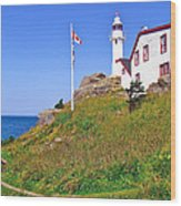 Lobster Cove Lighthouse With Blue Sky In Gros Morne Np-nl Wood Print
