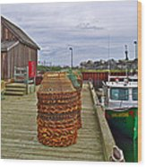 Lobster Fishing Baskets And Boats By A Dock In Forillon Np-qc Wood Print