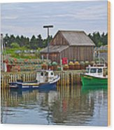 Lobster Fishing Baskets And Boats In Forillon Np-qc Wood Print