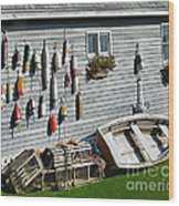 Lobster Pots And Buoys Wood Print