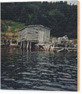 Lobster Pots And Old Stage Wood Print